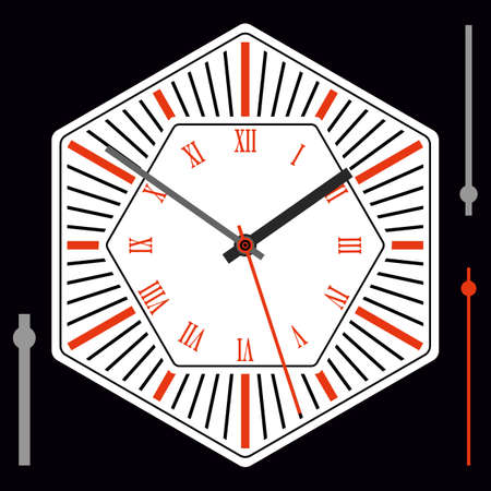 Hexagonal watch dial on white background. Hour, minute and second hands. Roman numerals. Vector illustration
