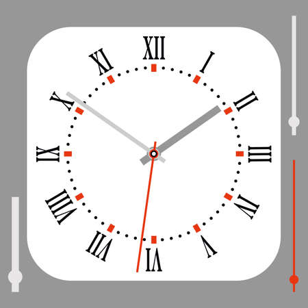 Vintage Rounded Square White Watch Dial With Arrows. Roman numerals. Vector illustration