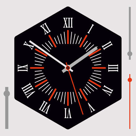 Hexagonal watch dial on black background. Hour, minute and second hands. Roman numerals. Vector illustration