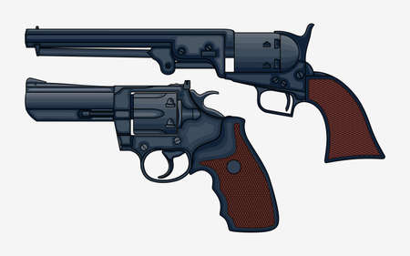 Two revolver pistols vector isolated illustration. Drawing of vintage Ilustracja