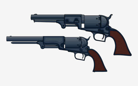 Two revolver pistols vector isolated illustration. Drawing of vintage   revolvers Ilustracja