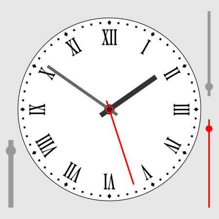 Vintage white watch dial with arrows, roman numerals. Vector illustration