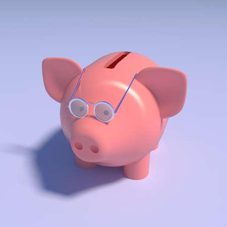 Piggy bank 3d illustration for money content. Financial success concept, pig with glasses, piggy bank. 3d illustration