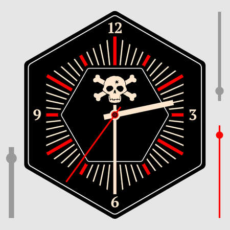 Hexagonal dial for pocket or wall clocks with arrows. Jolly Roger on a black background. Illustration clip-art