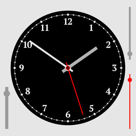 Vector vintage black watch dial with arrows. Illustration clip-art