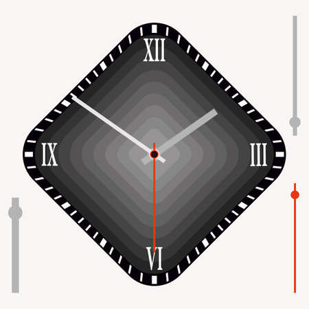 Vector vintage black diamond-shaped watch dial with arrows. Illustration clip-art Ilustracja