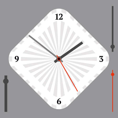 Vector vintage white diamond-shaped watch dial with arrows. Illustration clip-art