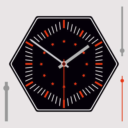 Black hexagonal watch dial with red stars on background, without numbers. Hour, minute and second hands. Vector illustration Ilustracja