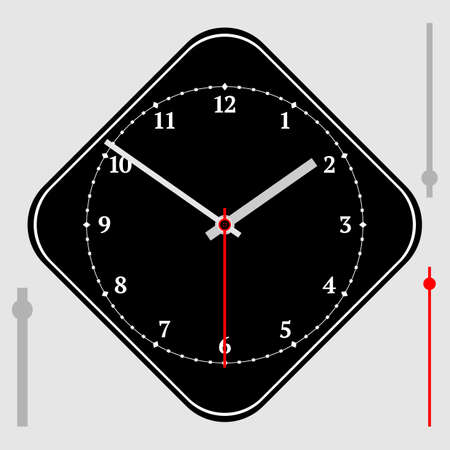Vector vintage black diamond-shaped watch dial with arrows. Red numbers. Illustration clip-art Ilustracja