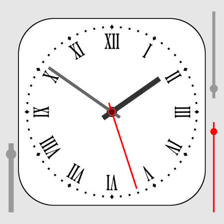 Vintage rounded square white watch dial with arrows, roman numerals. Vector illustration