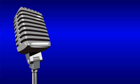 Vintage retro steel metal silver microphone isolated on dark blue background. 3d realistic vector illustration