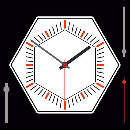 Hexagonal watch dial without numbers. Hour, minute and second hands. Vector illustration Ilustracja