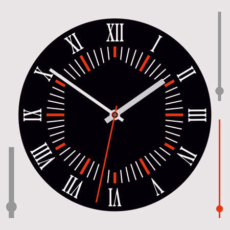 Round black dial with Roman numerals and hands. Vector illustration