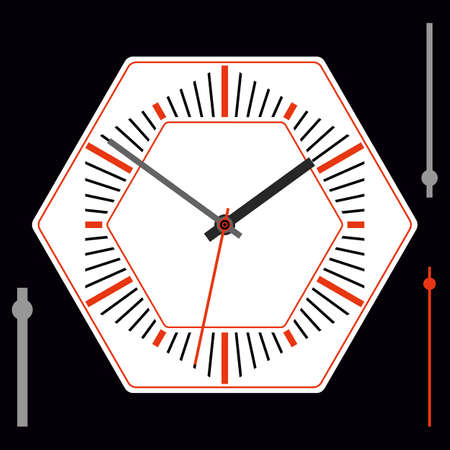Hexagonal dial for pocket or wall clocks with arrows. Illustration clip-art