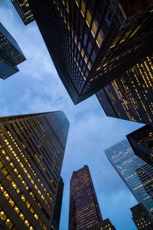 nightview: night view of Toronto city skyscrapers; look up; urban skyline; business center of big city Stock Photo