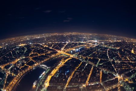 amazing night view from french eiffel tower; beautiful skyline of night paris