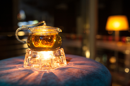 teakettle: glass teapot with candle heater; cute transparent teakettle with fire heat;