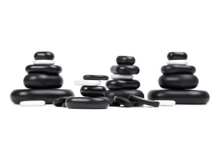basalt: isolated massage stones set; basalt spa stones on white background