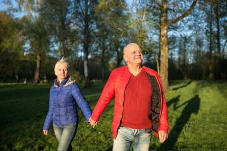 walk in: happy seniors couple hold hands and walk; older male and female in park;