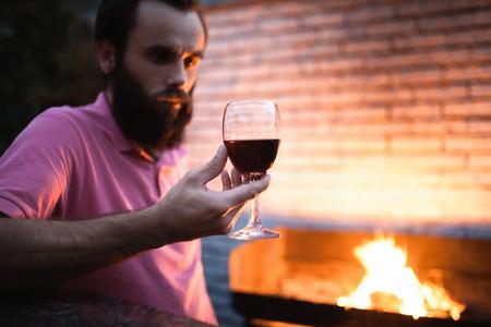 barmen: bartender taste delicious french or italian alcohol; Stock Photo
