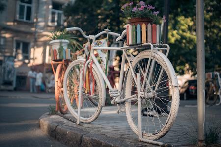 old fashioned retro bike in cozy place