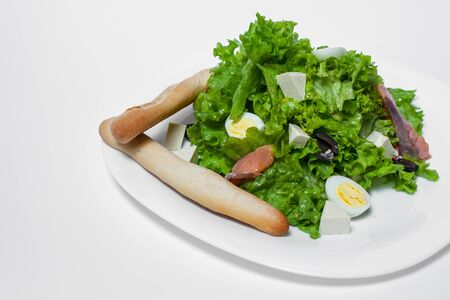 green salad with salmon, lettuce, eggs and toasts