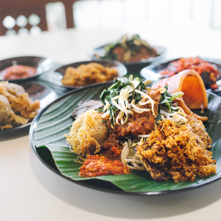 Close up on nasi dagang dishes