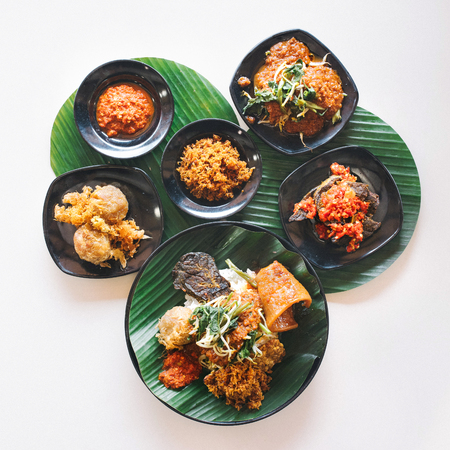 Close up on nasi dagang dishes