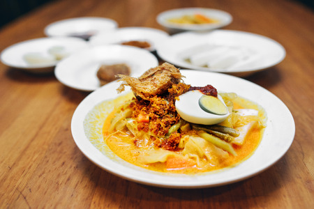 Lontong with side dishes Stok Fotoğraf