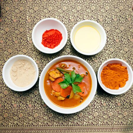 Cambodian red curry dish with ingredients