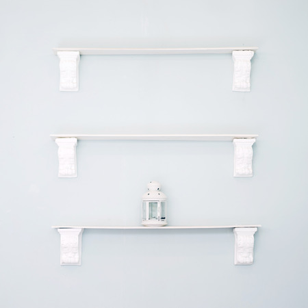 Wall mounted shelves Stock Photo