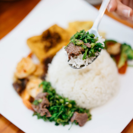 Vietnamese rice with beef and vegetables
