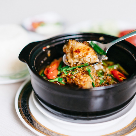 Vietnamese claypot braised catfish