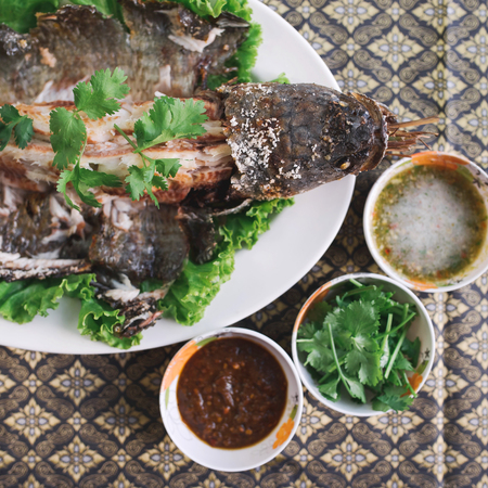 Fried snakehead fish Stock Photo