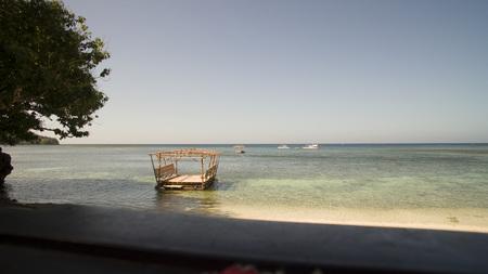 Raft structuur aan het strand Stockfoto