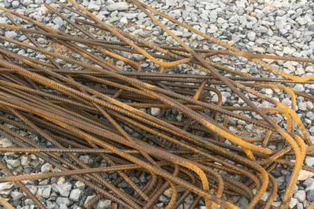rebar: Steel rebar prepared for use in construction site Stock Photo