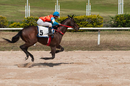 Jockey and horse racing in track photo
