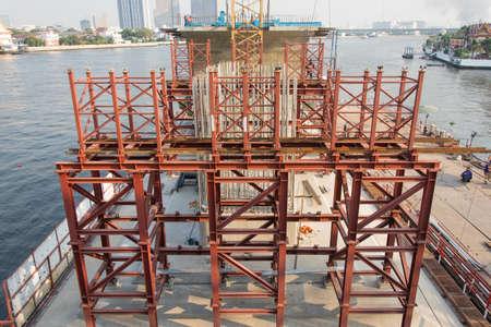 scaffold: Stell scaffold in bridge construction site,Bangkok Thailand Stock Photo