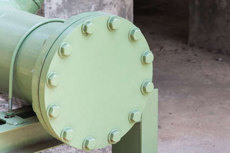flange: Steel flange shutting off the end Stock Photo