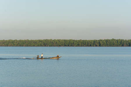long tail: Long tail boat running on river