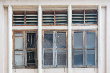 louver: Old wooden window and louver above
