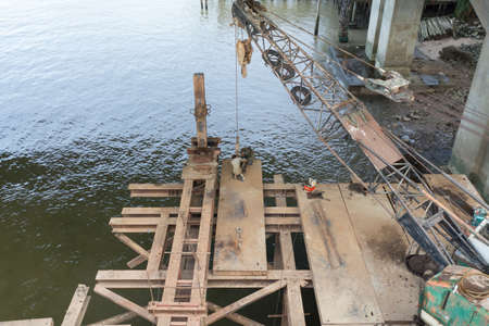 mobile crane: Old mobile crane in construction