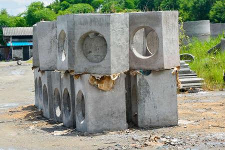 Concrete sump preparing for construction Stock Photo