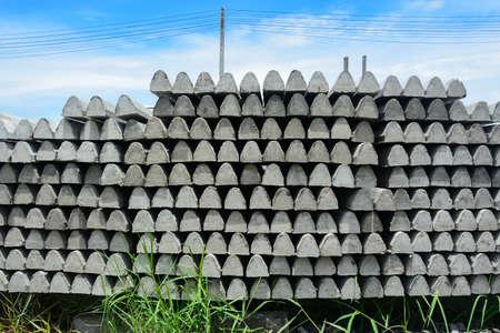 precast: Precast concrete column for fence in factory