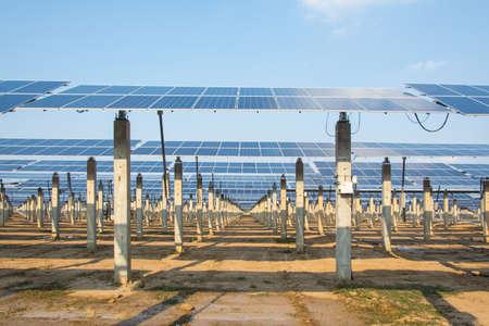 solar farm: Solar panel support in solar farm