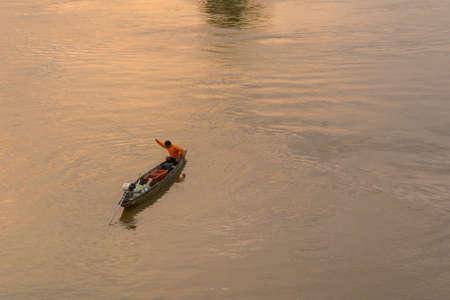 fishermans net: Fisherman boat on Mekong river