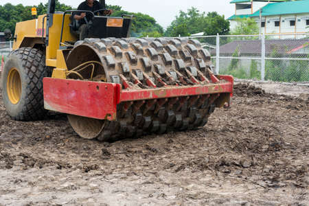 Roller compactor machine in construction  site Stock Photo