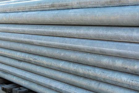 Stacks of steel pipe in factory