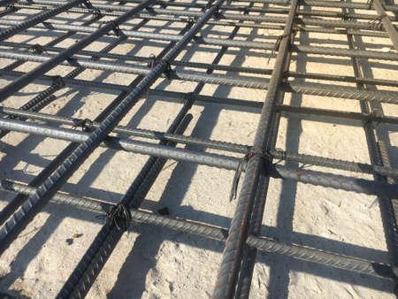 Steel rebar for slab at construction site Stockfoto