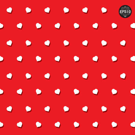Seamless hearts polka dot pattern, vector, eps10 Vector